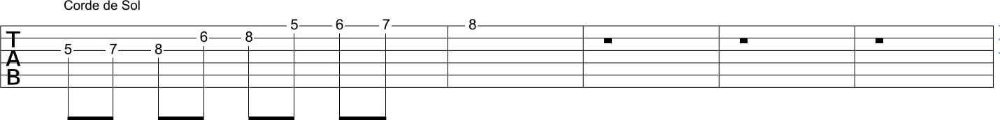 gamme bebop mineure corde sol