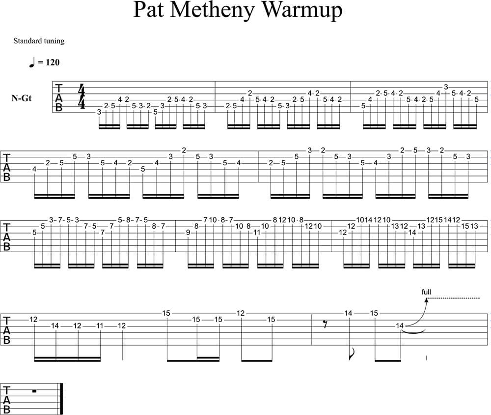 Pat Metheny Echauffement Tab